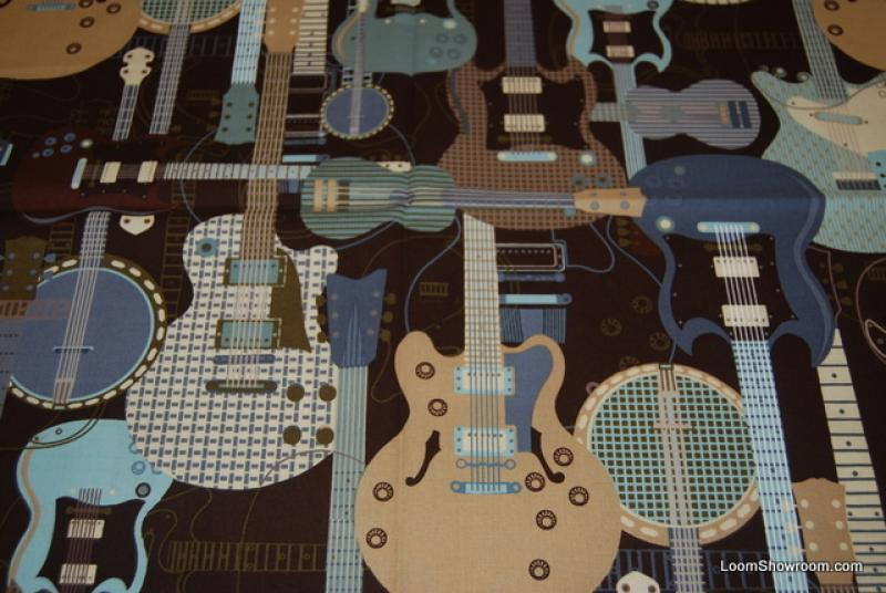R303 Acoustic Electric Guitar Rock Banjo Stratocaster Jam Session Quilt Fabric Cotton Fabric