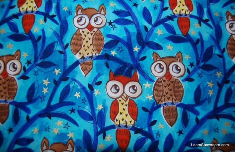 R306 Retro Bird Owl Moonlit Owls Cotton Fabric Quilt Fabric