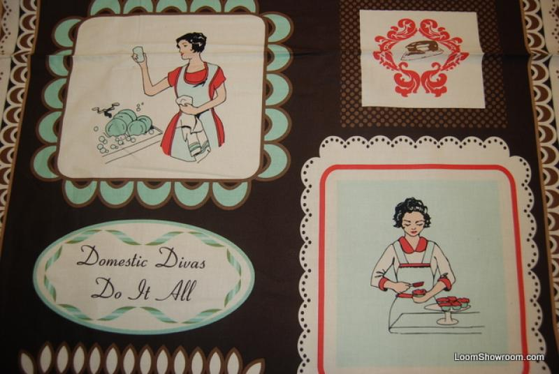 FF84 PNL76 Retro Domestic Divas Panel Housewife Cooking Cleaning Cupcakes Emily Taylor Cotton Fabric Quilt Fabric