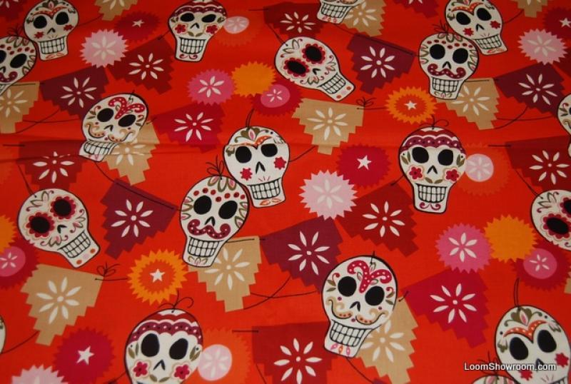 Last Piece! 17 x 44 Day of the Dead Sugar Skull Papel Picado Mexico Puebla Alexander Henry Skulls Pink Tan Red Orange background Cotton fabric Quilt fabric PCR33