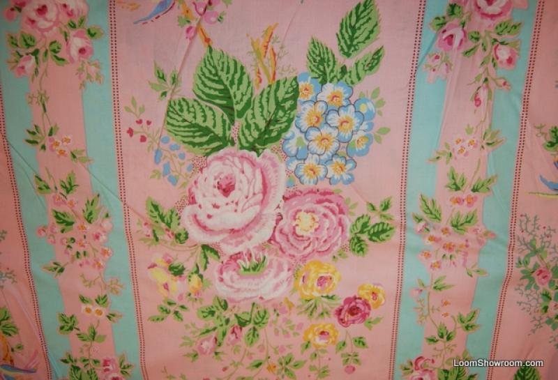 R343 Victorian French and Elizabethan Style Rose Stripe Cotton Fabric Quilt Fabric