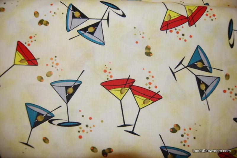 R381 Atomic Retro Modern Martinis Glasses Olives Cotton Fabric Quilt Fabric