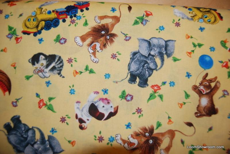 R394 Vintage Book Little Golden Books Characters Saggy Baggy Elephant Pokey Puppy Kitten Cotton Fabric Quilt Fabric