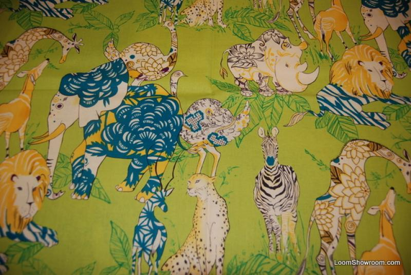 R49 Groovy Retro Zanzibar Safari Animals Lion Rhinoe Giraffe Cheetah Peacock Yak Ostrich Bird Cotton fabric Quilt fabric