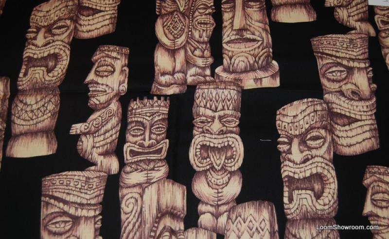 Atomic Retro Hawaii Tiki Gods Tiki Idol Trader Vic's Style Cotton fabric Quilt fabric PC297