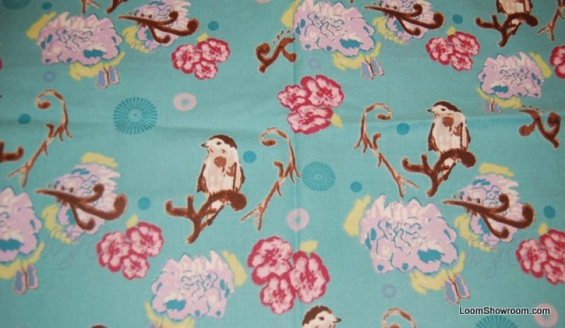R72 Bird Limb Teal Birds ABC Flowers Leaves Pink White Brown Light ...