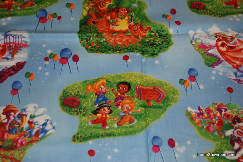 R76 Hasbro Retro Game Candyland Kids Balloons King Gingerbread Light Blue background Cotton fabric Quilt fabric