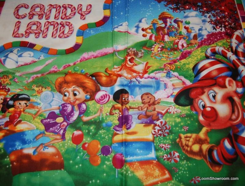 R78 Retro Hasbro Candyland Game Board Kids Panel Cotton fabric Quilt fabric