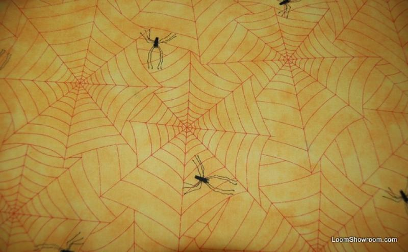 Fat Quarter! FQR82 Spider Web Skinny Spiders in Webs Halloween Cotton Fabric Quilt Fabric - copy