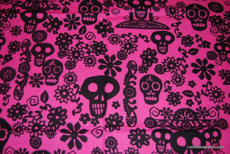 R87 Papel Picado Mexico Paper Cut Day Of The Dead Skull Skulls And Flowers Floral Leaves Design Black Pattern Pink Background Cotton Fabric Quilt