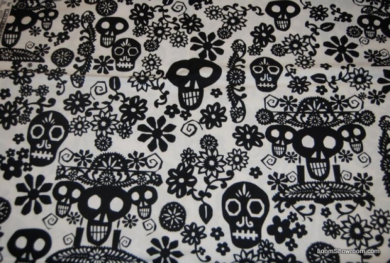 R97 Papel Picado Mexico Day Of The Dead Paper Cut Skull Skulls And Flowers Floral Leaves Design Black Pattern White Ivroy Background Cotton Fabric Quilt
