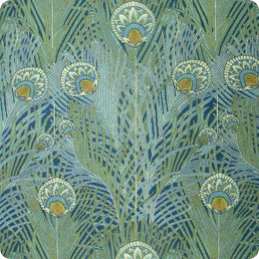 Arts and Crafts Silvers Liberty Style Peacock Feather Fulham Road Cotton Lawn Fabric