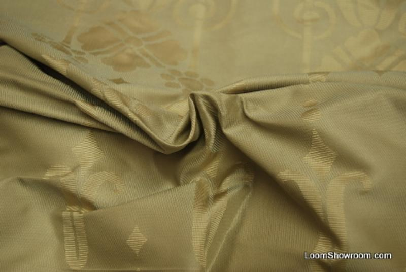 1.5 Yard Piece Beacon Hill Silk Damask Italy Made Reversible Pale Gold Silk Fabric REM143