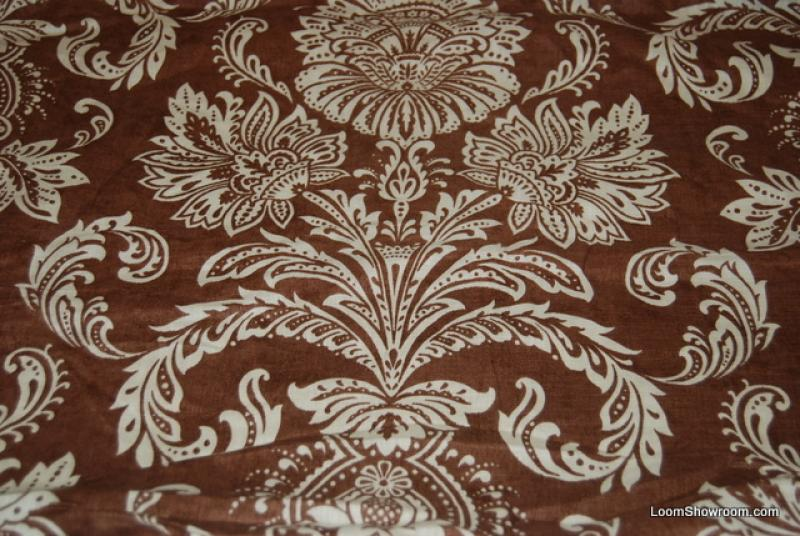 REM313 -- 13 yard BOLT Thibaut Chocolate Brown Large White Floral ...