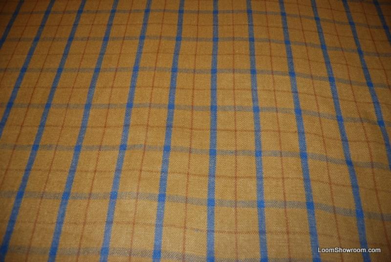 Rl113 Ralph Lauren Heavy Wool Plaid Mustard Yellow And Blue