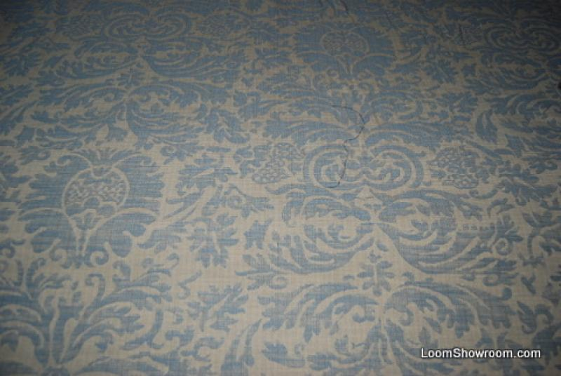 RL553 Ralph Lauren Heavy Weight Blue and Gold Damask Fabric Cotton ...