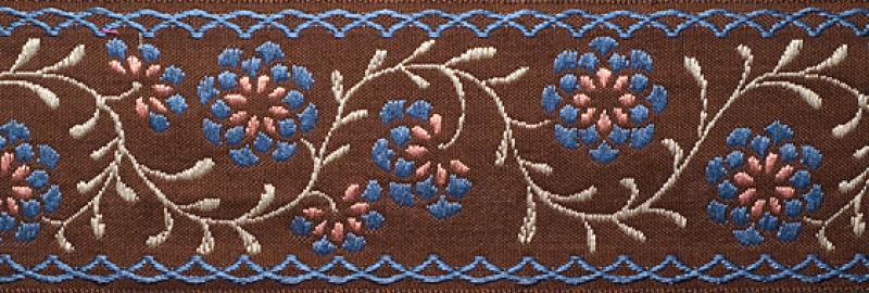 5 Yard Spool French Jacquard Ribbon 5 Yards Zinnia Flower Vine Blue Brown 2 1/2 inch width RROS136