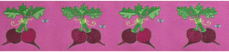 5 Yard Spool Garden Fresh Woven Beet Ribbon Burgundy / Purple 1 1/2 inch width RROS139