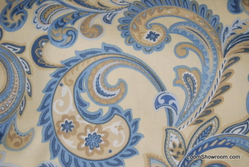 Paisley Butter Yellow Blue Paisley Floral Fabric Indoor Outdoor
