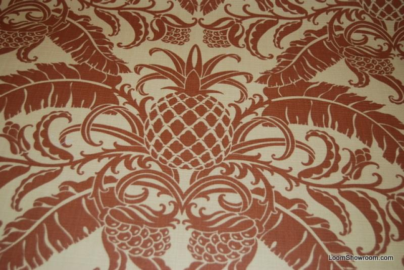 Tommy Bahama Pineapple Damask Print Leaves Design Cream background Famous Maker Printed Soft Indoor and Outdoor Fabric s344
