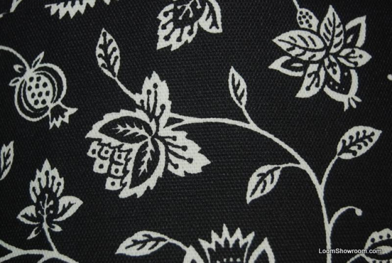 Floral Black and White Small Scale Floral Traditional Contemporary Soft Acrylic Indoor Outdoor Fabric  S352 CLOSEOUT