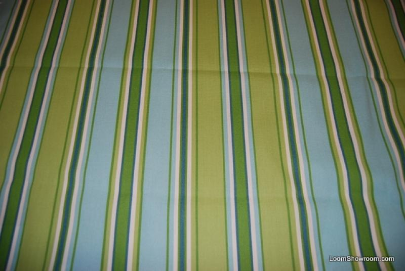 6 YARD BOLT! Classic Awning Stripe Lime Turquoise Famous Maker Soft Outdoor Fabric Printed Fabric PCS703