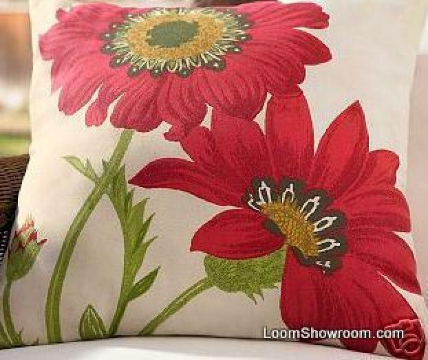 Pillow Panel DIY Poppy Floral Indoor Outdoor Fabric Acrylic Panel S83