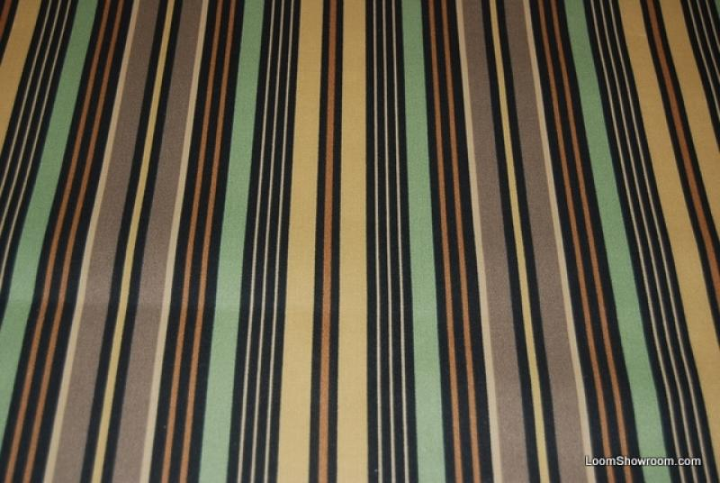Classic Awning Stripe Sun Famous Maker Green Taupe Chocolate Brown Tan Soft Indoor Outdoor Fabric S86