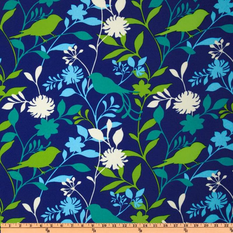 Australia Bold Modern Bird Branch Floral Silhouette Azure Blue Turquoise Navy Teal Lime Citron White Green Indoor OUTDOOR Sun Safe Famous Maker Outdoor Fabric SRI104 ***