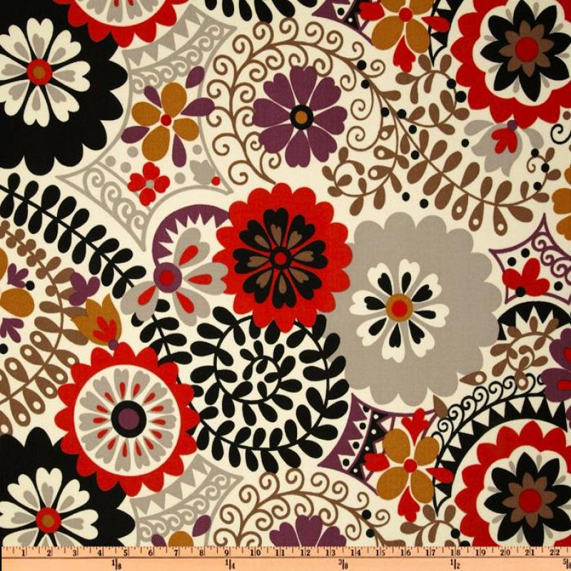 Australia Bold Floral Large Scale Ivory Grey Red Black Plum Bronze ...
