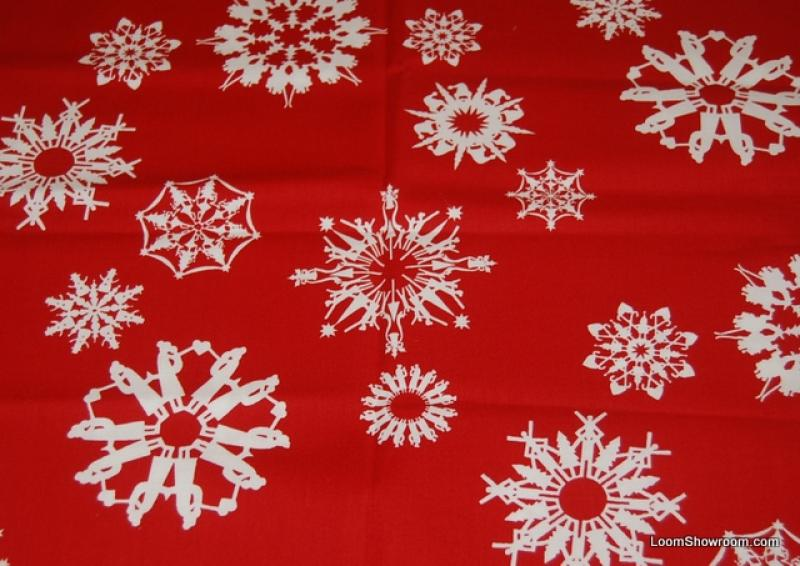 FAT QUARTER! Alexander Henry Folksy Flakes Christmas Bright White Snowflakes Hidden Picture Scene Silouhette Vibrant Red background Cotton fabric Quilt fabric RPFT04