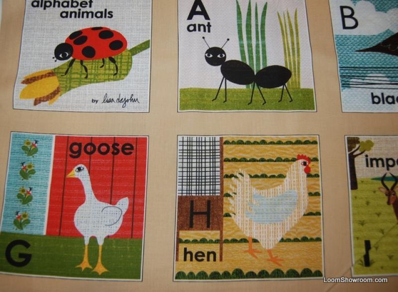 T109 Retro Animal Alphabet Flashcards Lisa DeJohn Cotton Fabric Quilt Fabric