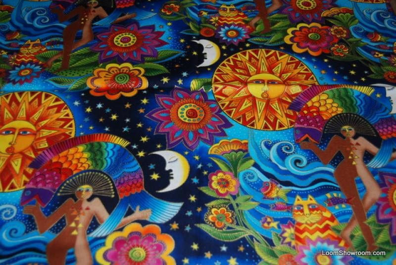 T125 Laurel Burch Egypt Sun and Moon Flowers Plants Leaves Pattern Design Space Cotton fabric Quilt fabric