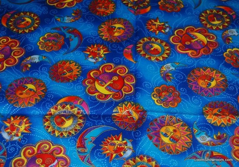 Laurel Burch Celestial Dreams Sun and Moon Opposite Pattern Blue Cotton fabric Quilt fabric T126