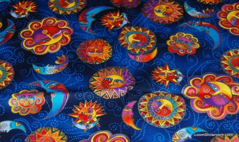 T127 Laurel Burch Celestial Dreams Sun and Moon Opposite Pattern Navy Cotton fabric Quilt fabric