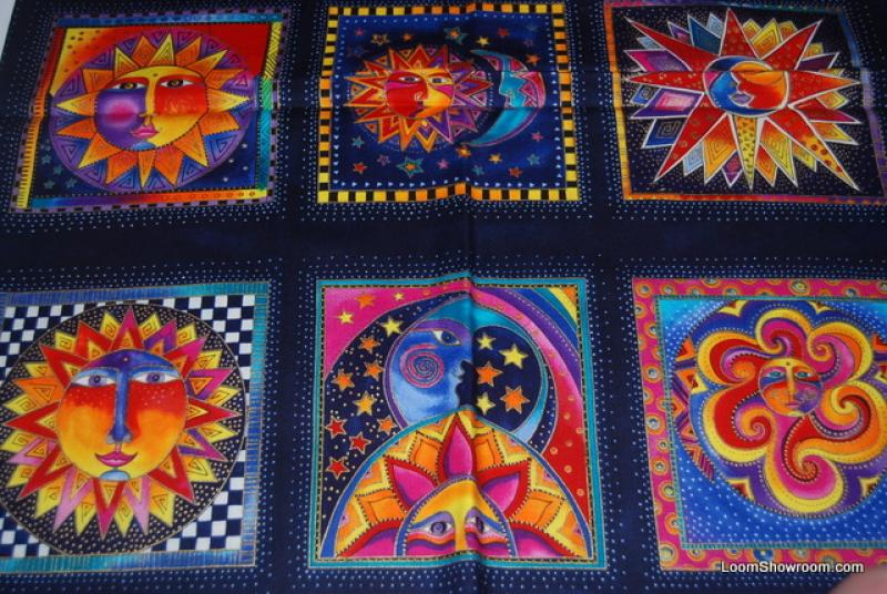 T128 Laurel Burch Celestial Dreams Sun and Moon Square Panels Cotton fabric Quilt fabric