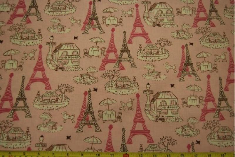 T141 Paris France Landmarks Eiffel Tower Cotton Fabric Quilt Fabric