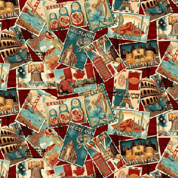 T186 World Travel New York Russia Rome Paris Vintage Postcards Cotton Fabric Quilt Fabric
