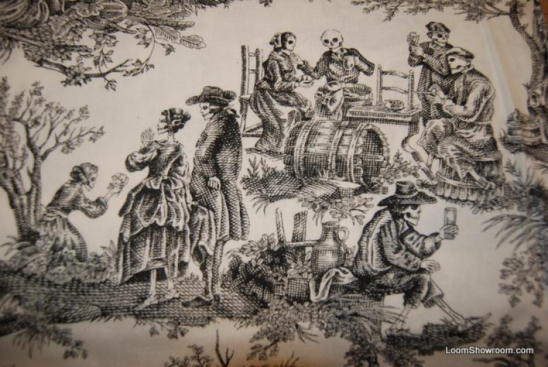 T198 Skeleton Toile Day of the Dead Jose Guadalupe Posada Mexico ... : toile quilting fabric - Adamdwight.com