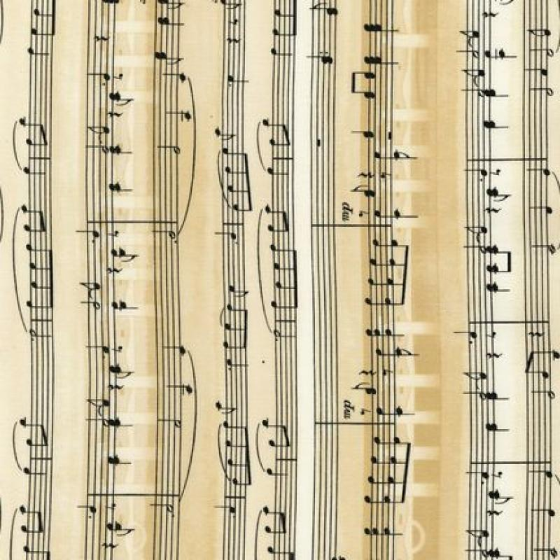T215 All That Jazz Sheet Music Musical Notes Quilt Fabric Cotton ...