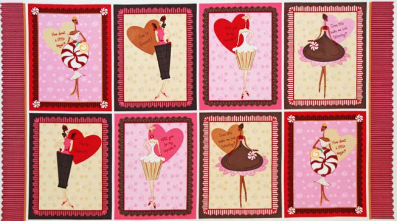 FF101 PNL130 T216  Sexy Dessert Divas Chocolate Cupcake Ladies 23 inch Panel Quilt Fabric Cotton Fabric