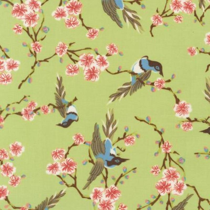 T217 Blue Bird Cherry Blossom Double Happiness Spring Quilt Fabric Cotton Fabric