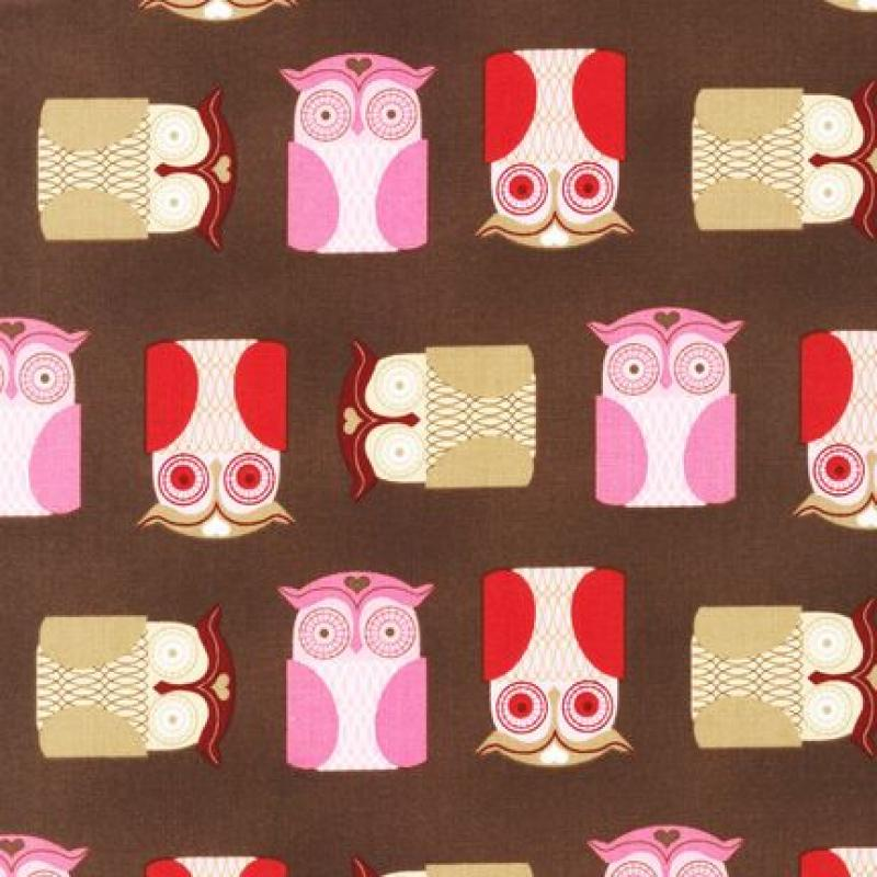 T219 Retro Vintage Owl Bird Kiss Me Quilt Fabric Cotton Fabric