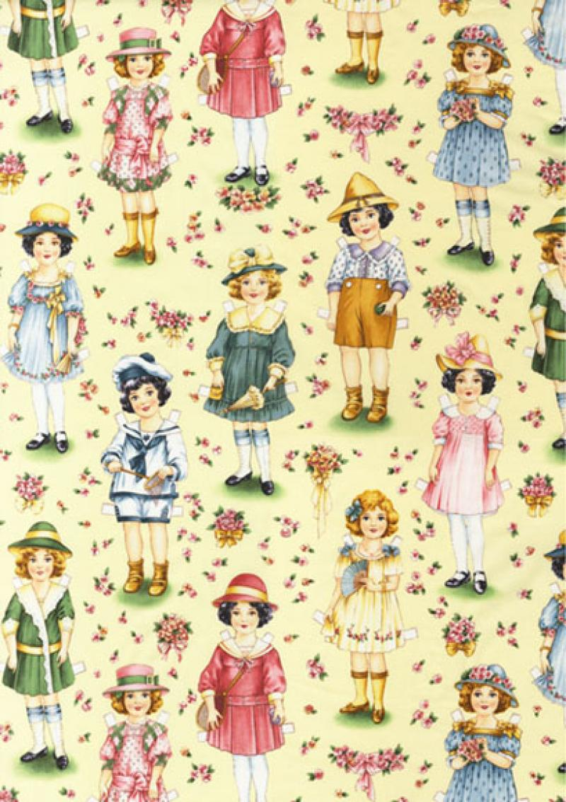 T222 Vintage Paper Dolls Doll Quilt Fabric Cotton Fabric