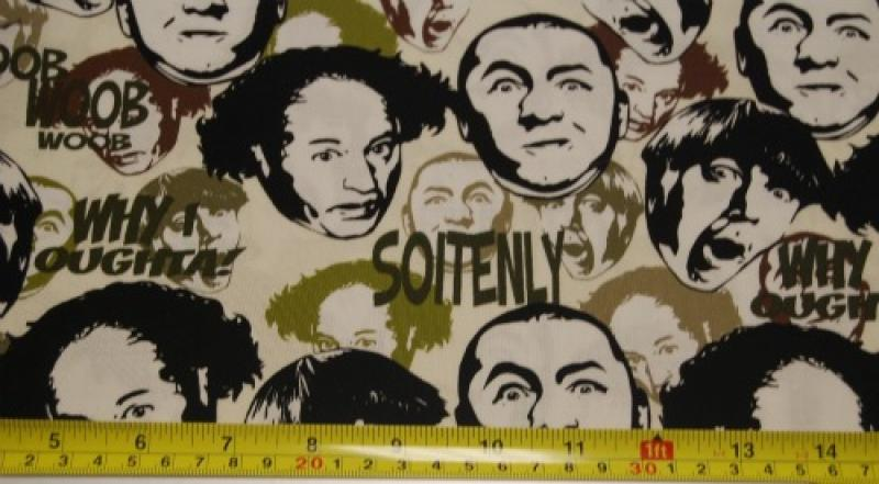 Three Stooges Larry Moe Curly Retro Faces and Words Quilt Fabric Cotton Fabric T223