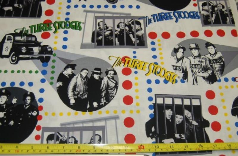 FF24 Three Stooges Black and White Larry Moe Curly Vignettes Quilt Fabic Cotton Fabric