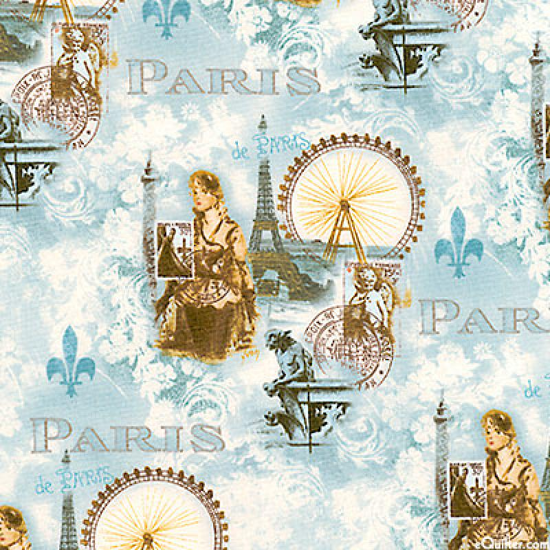 T225 Paris France Vintage World's Fair Quilt Fabric Cotton Fabric