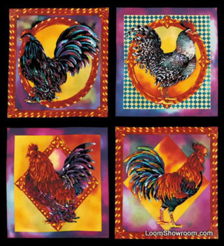 T238 Chanteclaire Rooster Chicken Nancy Duell Panel Cotton Fabric Quilt Fabric