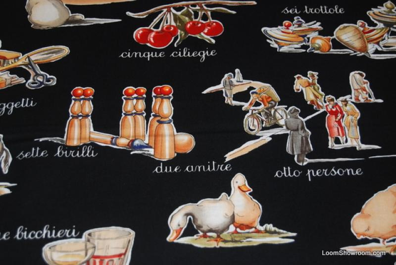 Last Piece! 32 x 44 Italy Tuscan Delicious Alphabet Words Food Kitchen Scenes Cotton Fabric Quilt Fabric Black Background T247