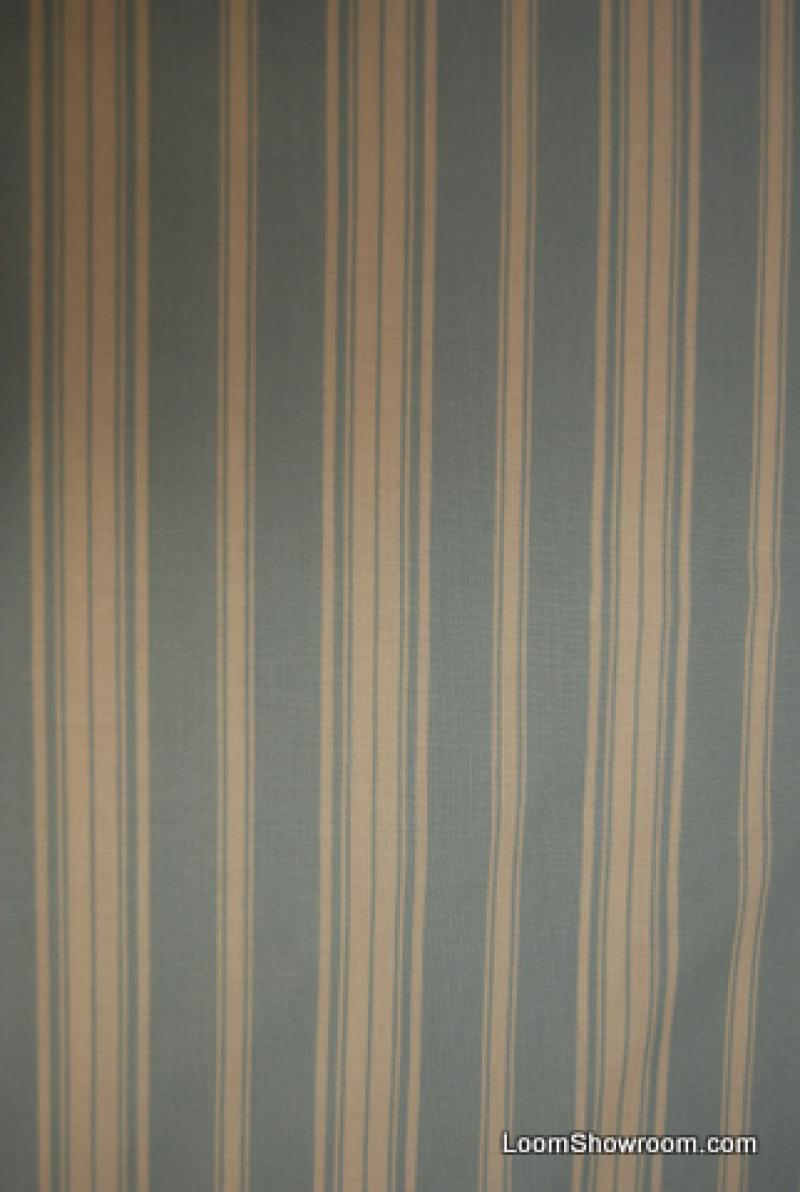 T305 Quilt Weight Ticking Stripe Rowan Sky Blue and Ivory Cotton Fabric Quilt Fabric